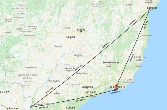טיול לברזיל ב-10 ימים, מפה