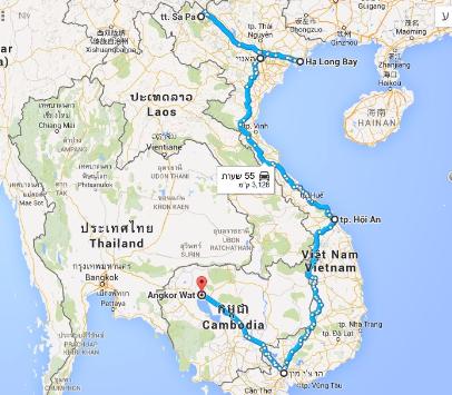טיול לויאטנם וקמבודיה, מפה