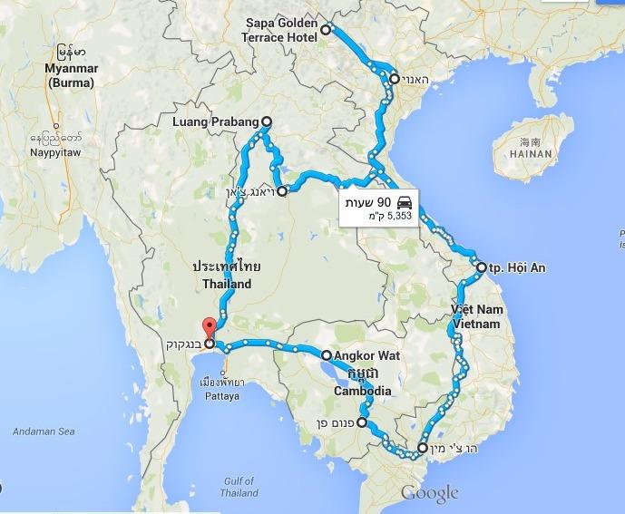 טיול לויאטנם קמבודיה ולאוס, מפה