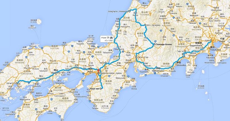 טיול ליפן עם רכב, מפה