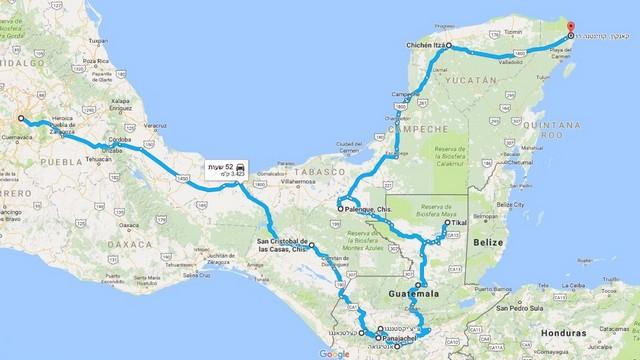 טיול למקסיקו וגואטמלה, מפה
