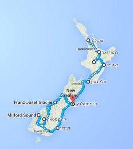 טיול לניו זילנד, מפה