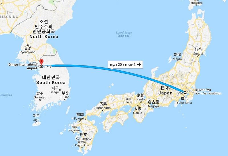 טיול לסיאול וטוקיו לבני נוער, מפה