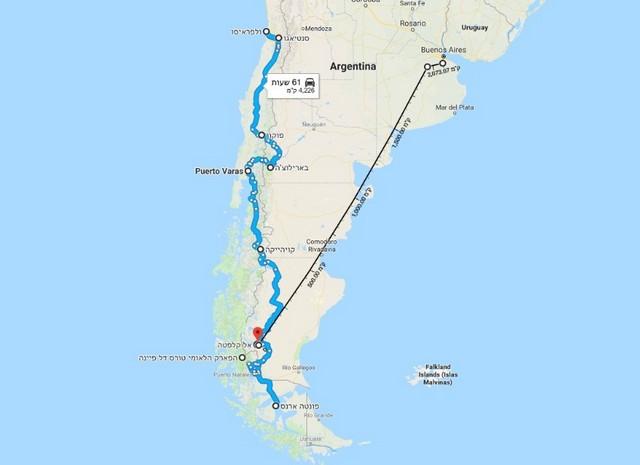 טיול לפטגוניה, ארגנטינה וצ'ילה עם רכב שכור, מפה