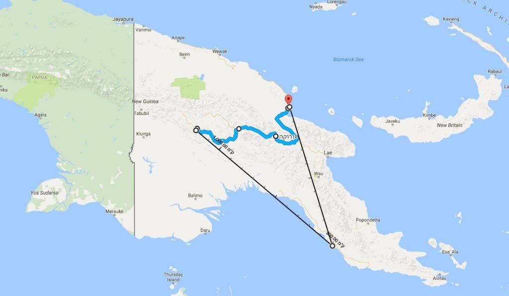 טיול לפפואה ניו גיני, מפה
