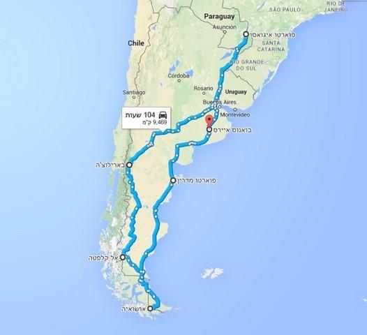 מסלול טיול לארגנטינה וצ'ילה, מפה