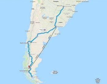 קרטרה אוסטרל - לארגנטינה וצ'ילה, מפה